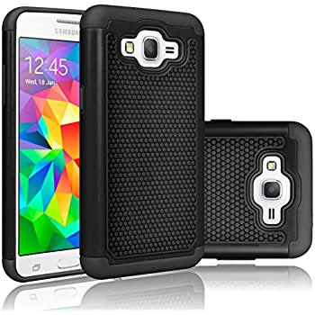 Tekcoo Grand Prime Case/Galaxy Go Prime Case, [Tmajor] Shock Absorbing [Black] Hybrid Rubber Plastic Defender Rugged Slim Hard Protective Case Cover Shell ...