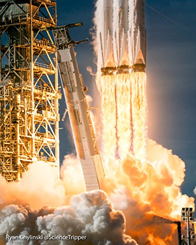 Spacex Falcon Heavy Fire And Fury  18X24 Poster   Original Launch Photography By Ryan Chylinski