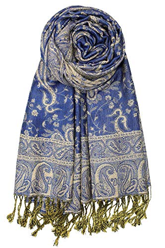 Achillea Soft Silky Reversible Paisley Pashmina Shawl Wrap Scarf w/Fringes (Royal Blue)
