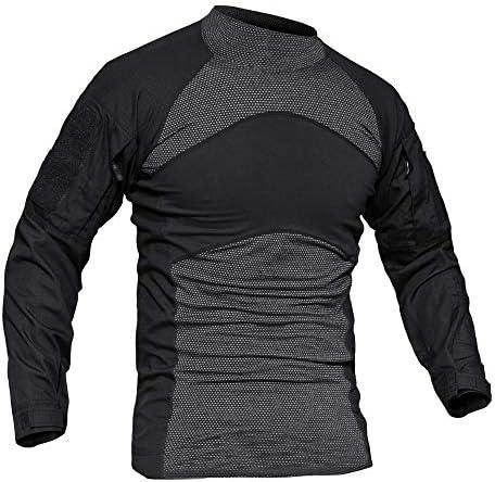 Taktisches Hemd, langärmlig, Airsoft-T-Shirts, Herren, elastisch, bequem, Outdoor, Wandern, T-Shirts, Herren, Baumwolle, Paintball-Shirt für Herren, Schwarz