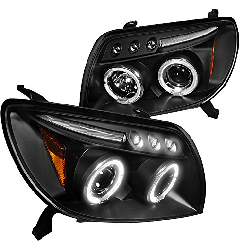 Spec-D Tuning 2LHP-4RUN03JM-TM Toyota 4Runner Black Led 2X Halo Projector Head Lights