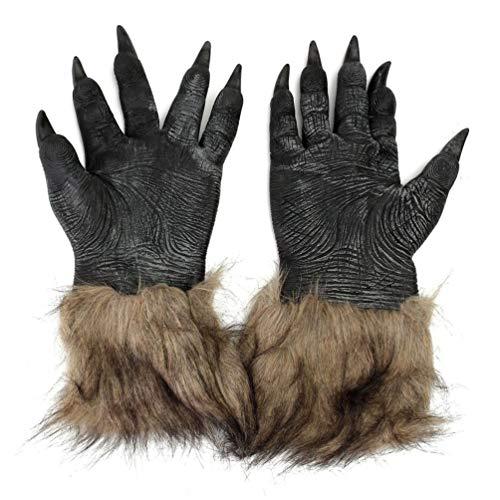 Chelsea Halloween Werewolf Gloves Latex Furry Animal Hand Gloves Halloween Prop Black 3120cm -