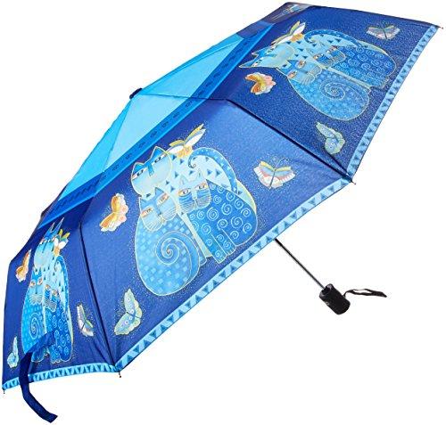 Laurel Burch Compact Umbrella Canopy Auto Open/Close, 42-Inch, Indigo Cats