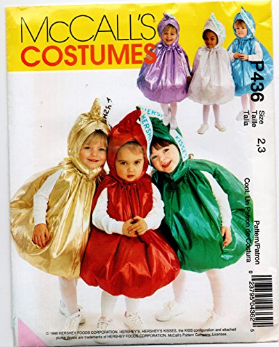 McCalls 9485, 2342, P436 Baby Infant Toddler Hershey Kiss Costume Sewing Pattern Size (Out Of Print Halloween Costume Patterns)