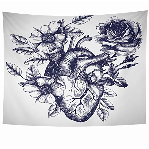 Ahawoso Tapestry 60x50 Inches State Anatomic Blooming Anatomical Human Heart Vintage Beam Style Design for Your Tattoo Engraving Wall Hanging Home Decor Tapestries for Living Room Bedroom Dorm