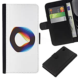 EJOY---La carpeta del tirón la caja de cuero de alta calidad de la PU Caso protector / Sony Xperia Z1 L39 / --Cuerda Vibrante Teoría Física Blanca