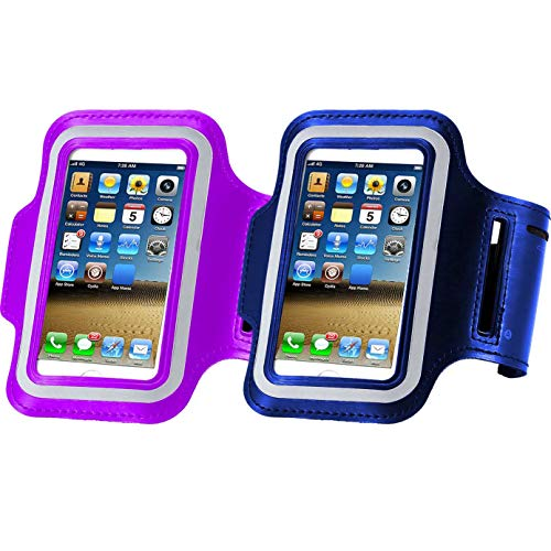 2pack Running Armband for iPhone X xs MAX XR/8 Plus/8/7 Plus/7/6S Plus/6S/6/5S/SE, Sports Workout Cell Phone Holder for Samsung Galaxy S9 S8/S7 Edge/S6, More-Purple+Dark Blue