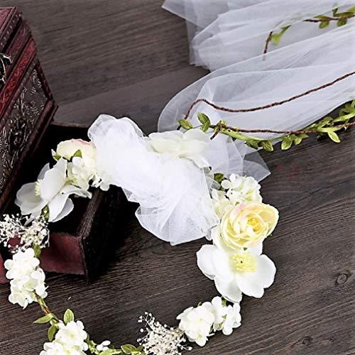 Bohemian Flowers Pearl Garland Bridal Wedding/Sweet Sixteen/Flower Girl/Quinceanera Crown Headdress (Light Yellow Flower Head Wreath White Veil Fabric Bridal Headpiece) ()