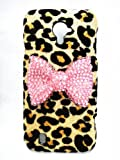 Bling Shiny 3D Bow Golden Champagne Leopard Special Party Case Cover For Smart Mobile Phones (ZTE Majesty Z796C / Source N9511, Pink Bow)