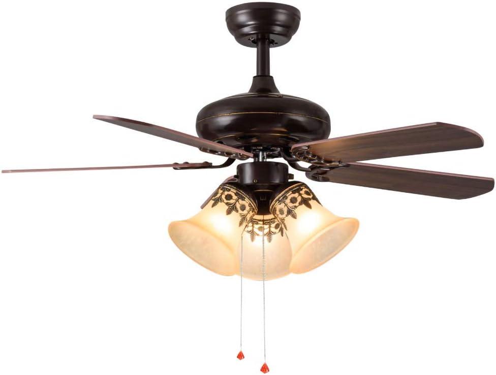 Retro Ventilador de Techo Con Lámpara,Ventilador de Techo Silenciosos Con Iluminación,3 Velocidades Luz de Ventilador de Techo Silencioso,Lampara Techo Antiguo Para Dormitorio Restaurante,E27 * 3