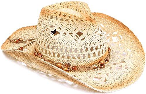 AbbyLexi Straw Cowboy Cowgirl Hat Wide Brim Beach Sun Hats for Kids, Brown Bead]()