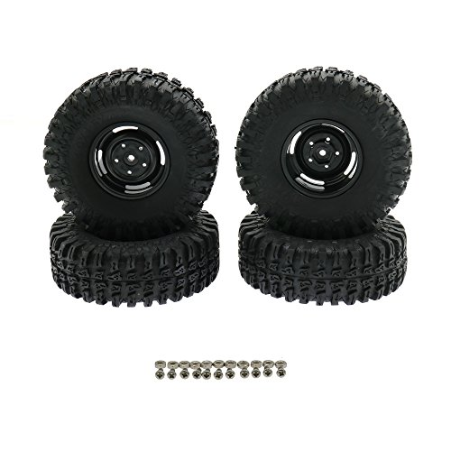 Front/Rear RC Rock Crawler Tires 1.9 Inch Rubber Tire Tyres & Wheels Rim Set for 1/10 Off-Road Buggy Axial SCX10 RC4WD with Foam Inserts Car(Black,115MM Gravel Tire)