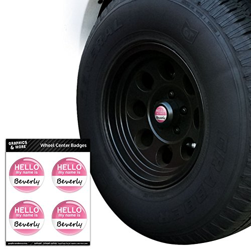 Beverly Hello My Name Is Tire Wheel Center Cap Resin-Topped Badges Stickers - 2.2