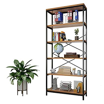 """shaofu 5-Tier Industrial Style Bookshelf and Bookcase, Vintage 5-Shelf Industrial Bookshelf Furniture (US Stock) (5… - Sturdy construction: Constructed with durable wood board(particle board) and steel tube support frame, With an odor-Free and anti-mildew guarantee thatensure durability In storage and decoration. Each shelf (5 shelf) can accommodate up to 75 lbs Large Space & Open shelves design: Open shelves design with clean line structure to maximize the open space feel. 70.9"""" H X 11.8"""" W X 31.6"""" L, And The Compartments Height is About 13.4"""", 5 Spacious Shelves Bookcase With 31.6 Inches Length Reliable Stability and Easy to Assemble: """"X"""" fream for Stability design to prevents shelf from separating vertically and adjust feet to stabilize on level surface. Sturdy on flat surface within just a couple of minutes then your open shelf will be assembled and installed - living-room-furniture, living-room, bookcases-bookshelves - 51eAoT1N0%2BL. SS400  -"""