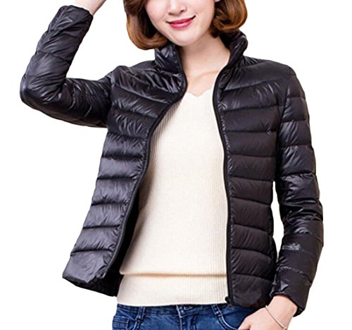 Puffer Gocgt Stand Casual Packable Collar Jackets Down Women's Black RqqgxrwEIp