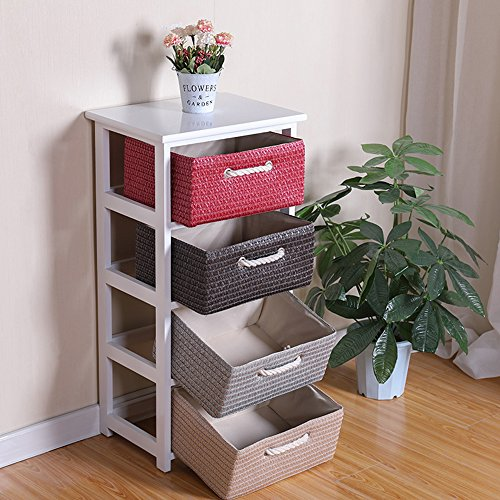 White Storage Organizer Unit for Closet 4 Tier 4-Drawer Storage Unit and Bins Side Table with Baskets
