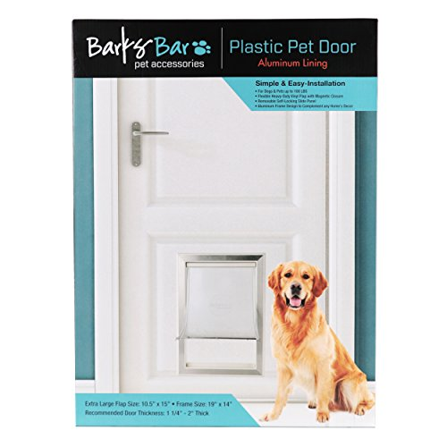 BarksBar Large Plastic Dog Door with Aluminum Lining - 10.5 by 15 inches Flap Size | Pets Up to 100 LBS