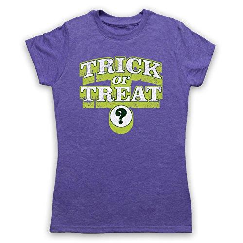 Trick Or Treat Halloween Camiseta para Mujer Morado Clásico