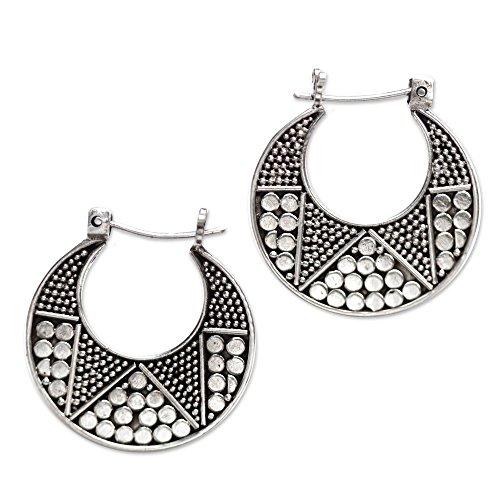 NOVICA .925 Sterling Silver Hoop Earrings 'Crescent', 23mm