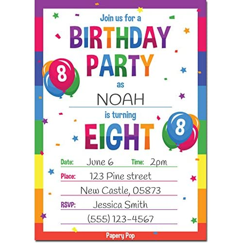 50OFF 8th Birthday Party Invitations With Envelopes 15 Count