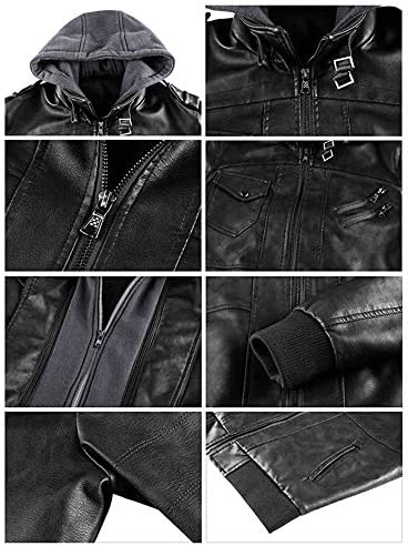 Veste de Moto en Cuir pour Hommes avec Capuche Amovible Veste en Cuir /à Capuche Denzell Outwear Anarchist pour Motard