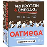 OATMEGA Protein Bar, Chocolate Coconut, Energy Bars Made with Omega-3 and Grass-Fed Whey Protein, Healthy Snacks, Gluten Free Protein Bars, Whey Protein Bars, Nutrition Bars, 1.8 Ounce (12 Count)