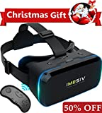 VR headset with Bluetooth Remote Controller IMESIV T04B Virtual Reality Headset 3D VR Glasses for 3D Video Movies Games for Apple iPhone, Samsung Sony HTC More Smartphones Black
