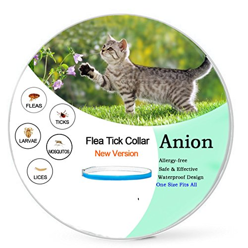 Flea and Tick Prevention for Cats,Flea Collar for Cats-Natural Essential Oil Herbal Repellent Tick,Water-Resistant,One Size Fits All(New Version)