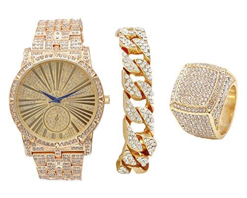 Bling on Blast Hip Hop Roman# Dial Gld Watch w/Cuban Bracelet and Size 8 Bling Ring - L0503GCuban3Set(8)