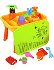 deAO Sand and Water Play Table 2 in 1 Plastic Outdoor Table for Toddlers with Times Tables and Accessories Included