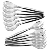 "ChefCity Set of 12 - Heavy Duty Disposable Plastic Serving Utensils, Six Large 10"" Spoons, Six Large 10'' Forks, Silver"