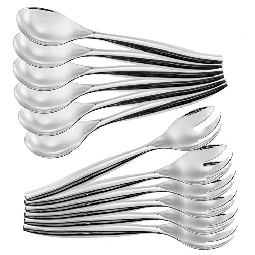 ChefCity Set of 12 - Heavy Duty Disposable Plastic Serving Utensils, Six Large 10