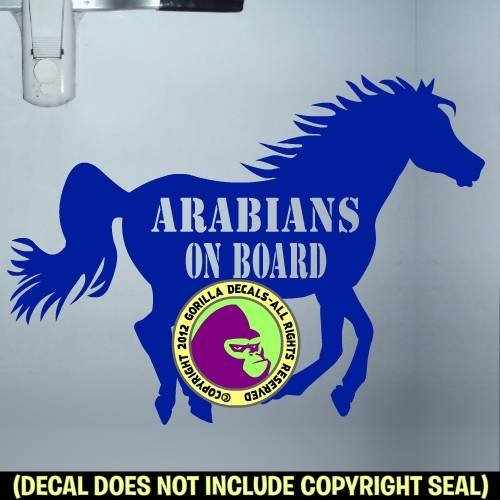ARABIANS ON BOARD Trailer Vinyl Decal Sticker E