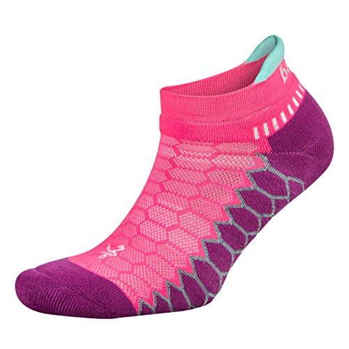 Balega Silver Antimicrobial No-Show Compression-Fit Running Socks for Men and Women (1 Pair), Watermelon/Pinkberry, Large