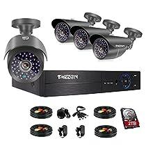TMEZON 4CH 1080P AHD DVR Video Surveillance System + 4 Pcs Waterproof Outdoor HD 2000TVL 2.0MP 1080P Bullet Cameras Home Security Kit (2TB HDD)