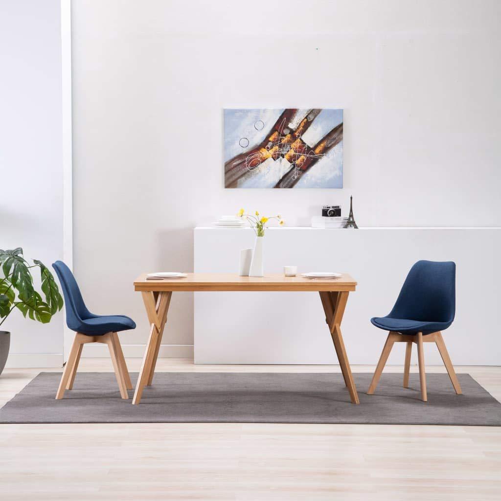 Tidyard Chaises de Salon 2 pcs Chaise Scandinave Bleu Tissu Chaises de Salle /à Manger