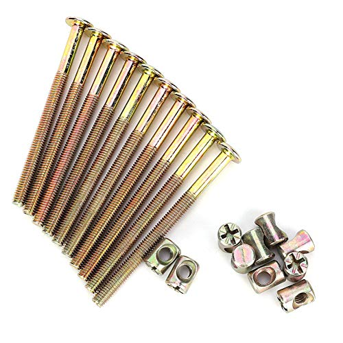 10 Pcs Nuts and Bolts M6 Carbon Steel Furniture BoltsBarrel Nuts Dowel Nut Connector Fastener for Crib Bunk Bed Furniture Cot Barrel Bolt Nuts Hardware Replacement Kit 90 mm Length(Bronze)