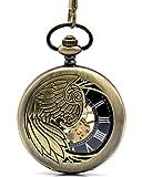 Infinite U Bronze Eagle/Angel/Phoenix Wings Hollow Skeleton Steel Mechanical Pocket Watch