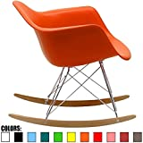 2xhome - Eames Style Molded Modern Plastic Armchair – Contemporary Accent Retro Rocker Chrome Steel Eiffel Base - Ash Wood Rockers - Rocking Mid Century Style Lounge Arm Chair Matte Finish (Orange)