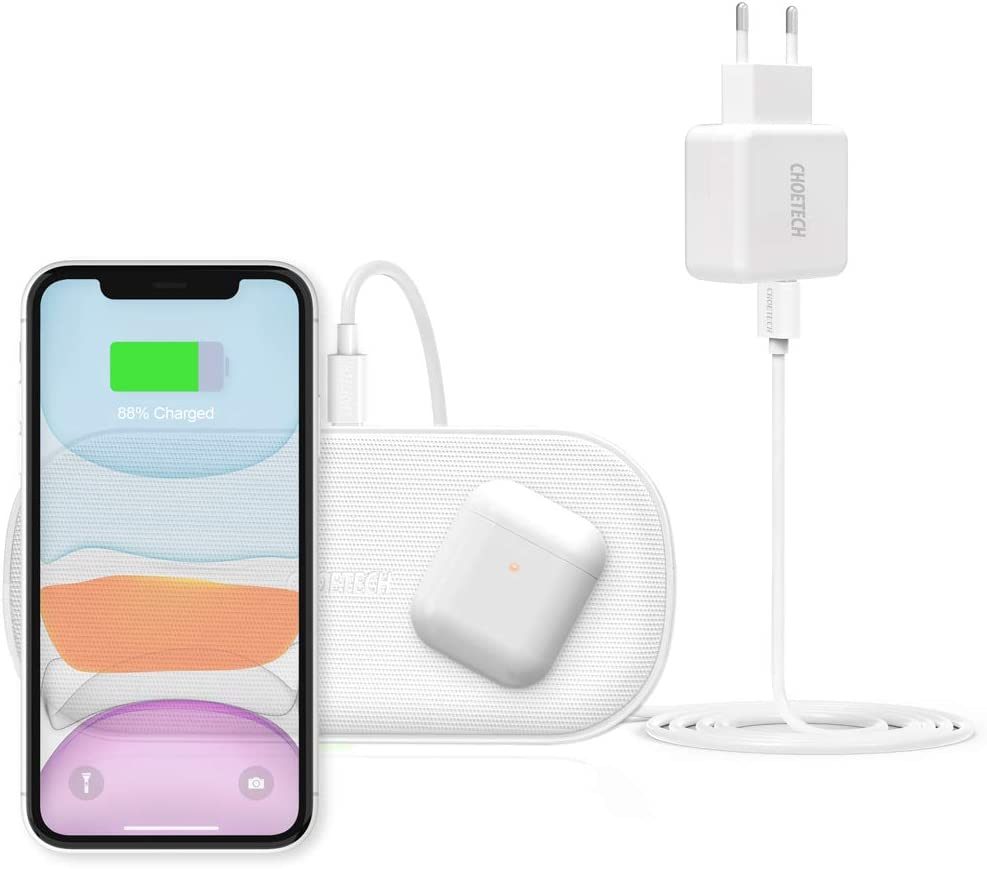 Cargador Inalámbrico Doble,CHOETECH 7.5W/10W 5 Bobinas Qi Fast Wireless Charger con Cargador 3.0 para Airpods 2, iPhone 11/11Pro/XR/XS/X/8,Galaxy Note 10/S10/S9/S8 y 5W Teléfonos Qi-Enabled-Blanco