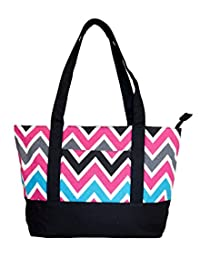 NEW! High Quality Zippered Pattern Prints Large Roomy Canvas Tote Bag,Multi Chevron Black