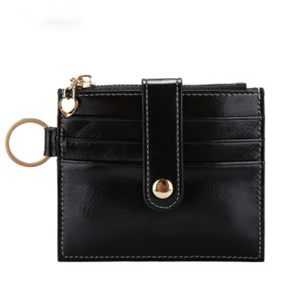 Womens Card Case RFID Card Holder Soft Leather Wallet with ID Window and Keyring