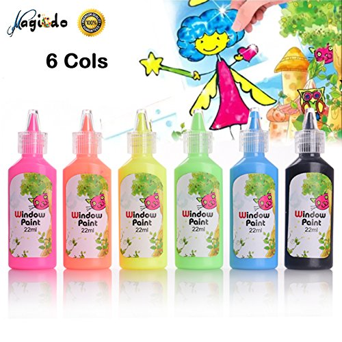 Window Paint Kit, 6 Colors x 22ml Bottles, Non Toxic Glass Painting for Glass, Window, Ceramic and Glass Surface by Magicdo by Magicdo®