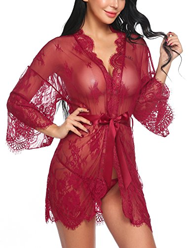 Avidlove Women's Lace Kimono Robe Babydoll Lingerie Mesh Nightgown Dark Red S by Avidlove
