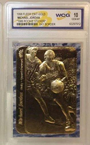 (MICHAEL JORDAN 1986 FLEER WCG GEM MT-10 23KT GOLD ROOKIE CARD! RARE BLUE BORDER!)