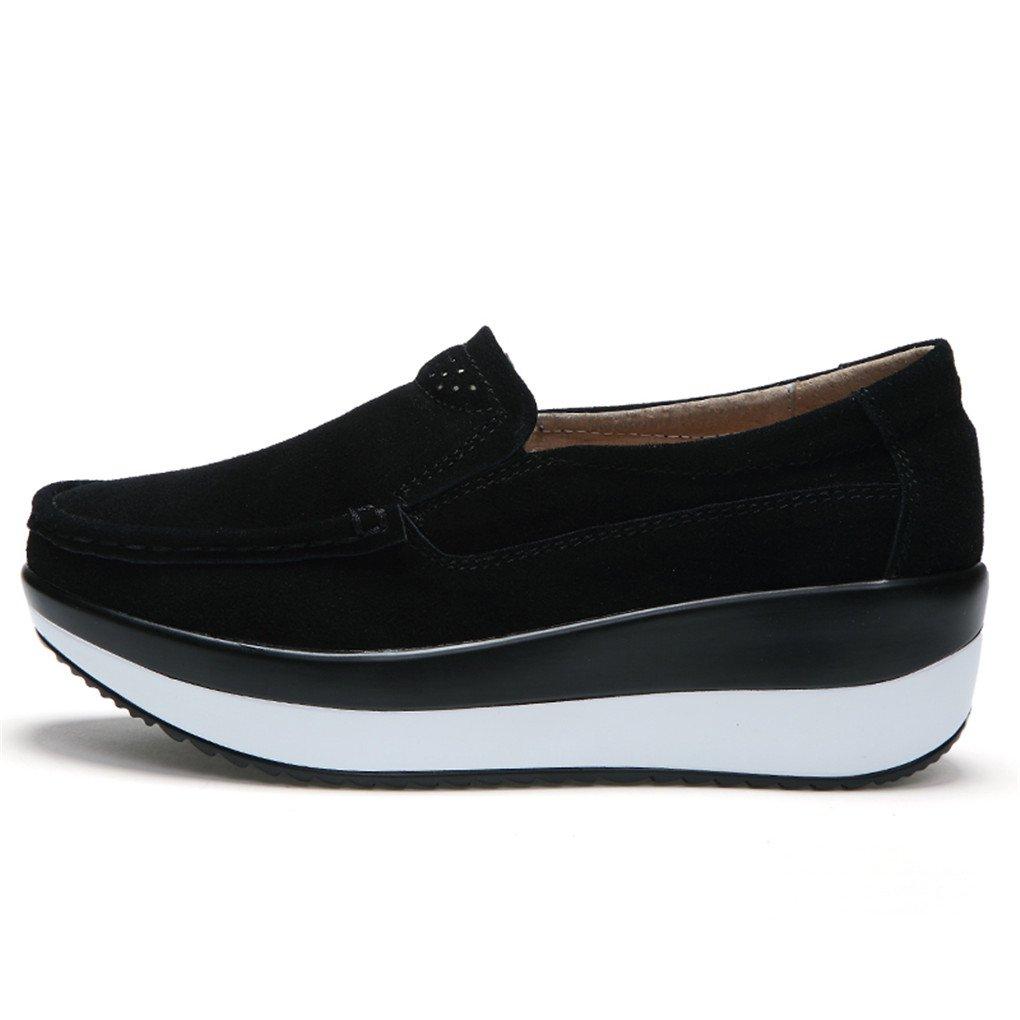 Ruiatoo Women\'s Suede Loafers Slip on Platform Comfort Driving Low Heel Wedge Shoes Black 37