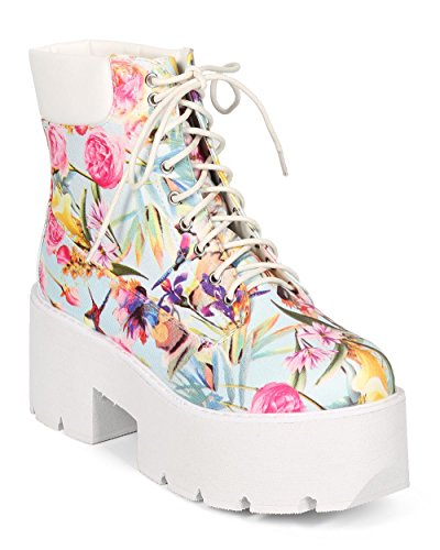 Qupid CF25 Women Floral Leatherette Chunky Platform Lace Up Creeper Industrial Boot - White (Size: 7.0)