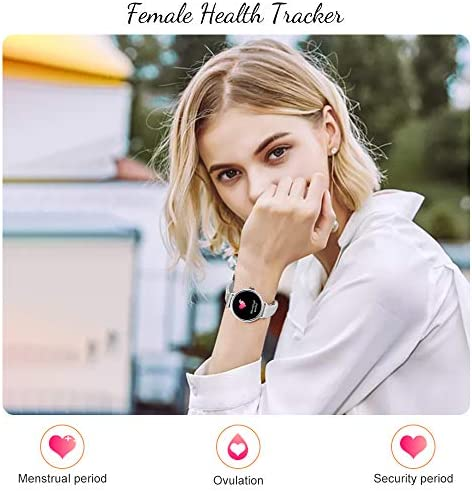 AMATAGE Smart Watch for Women for iPhone Android Phones, Fitness Activity Tracker Watch with Heart Rate, Sleep Monitor, Blood Pressure Monitor, Full Touch Screen, Extra Leather Band(Silver/Extra Band) 51eAsJad7oL