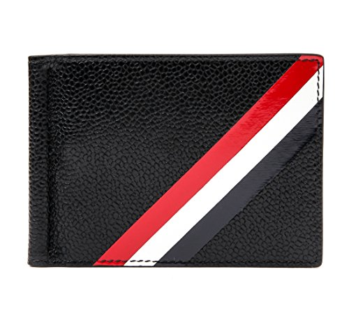 Wiberlux Thom Browne Men's Stripe Panel Money Clip Real Leather Wallet One...