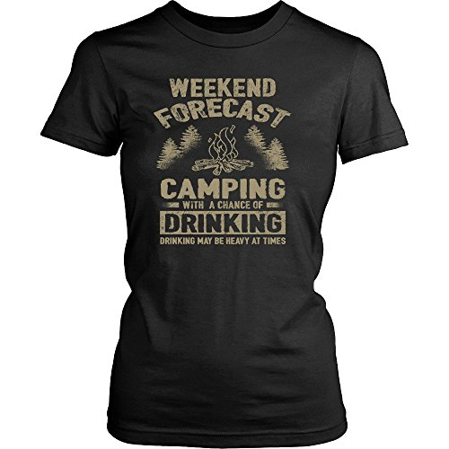 (Camperville Camp Shirt By Funny Weekend Forecast Camping With A Chance Of Drinking Women's T-Shirt - MD)